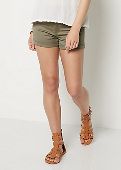 Olive Green Stretch High Waist Shortie