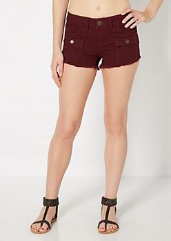 Burgundy Flap Pocket Frayed Short