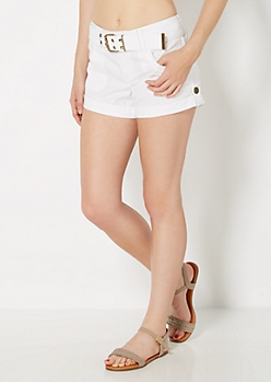 White Belted Woven Camp Short