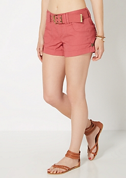 Pink Belted Woven Camp Short