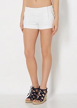 White 6-Shank Twill Short
