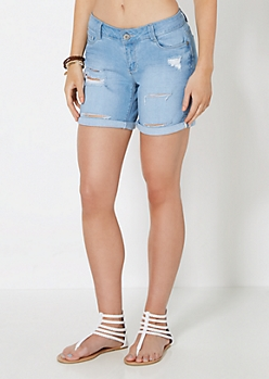 Distressed Double Rolled Denim Short