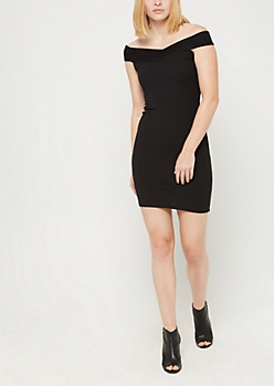 Black Off Shoulder Rib Knit Bodycon Dress