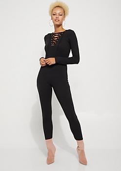 Black Lace Up Knit Jumpsuit