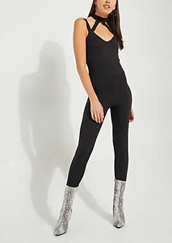 Black Caged Halter Jumpsuit