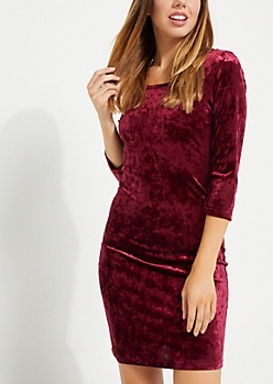 Burgundy Crushed Velvet Bodycon Dress