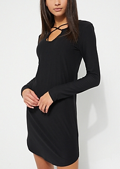 Black Cross Strap Long Sleeve Dress