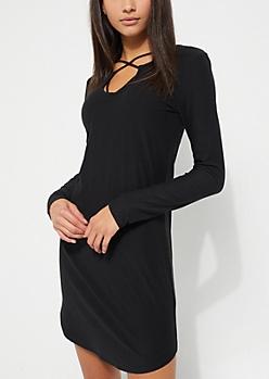 Black Cross Strap Long Sleeve Dress