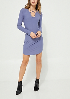 Purple Cross Strap Long Sleeve Dress