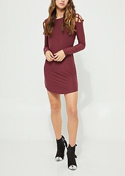 Burgundy Lattice Shoulder Long Sleeve Dress