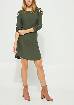 Olive Lattice Shoulder Long Sleeve Dress
