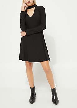 Black Keyhole Cutout Skater Dress