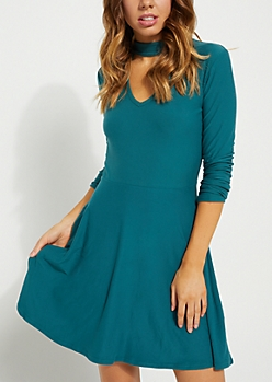Hunter Green Keyhole Cutout Skater Dress