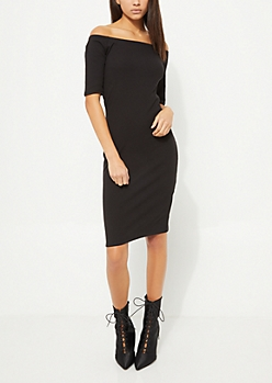 Black Off Shoulder Bodycon Midi Dress