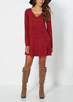 Burgundy Suede Lace-Up Shift Dress