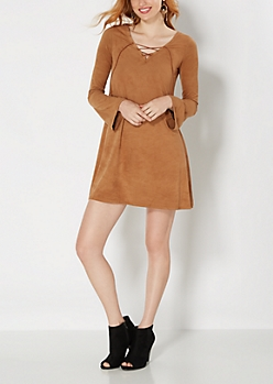 Tan Suede Lace-Up Shift Dress