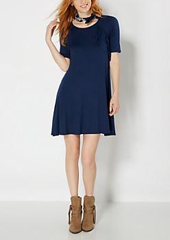 Navy Fringed Raglan Sleeve Dress