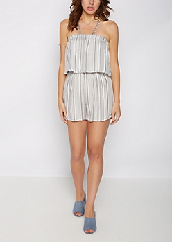 Gray Striped Popover Tube Romper