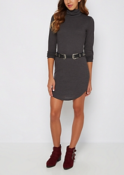 Charcoal Thermal Mini Dress