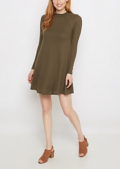 Olive Mock Neck Thermal Tent Dress