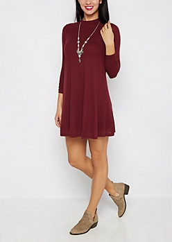 Burgundy Mock Neck Thermal Tent Dress