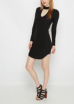 Black Keyhole Knit Dress