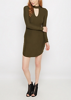Olive Green Keyhole Knit Dress
