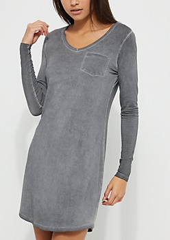 Charcoal Gray Washed Knit T-Shirt Dress