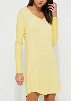 Light Yellow Washed Knit T-Shirt Dress