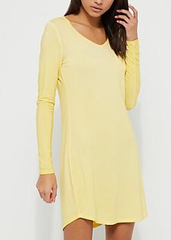 Light Yellow Washed Knit T-Shirt Dress