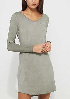 Olive Washed Knit T-Shirt Dress