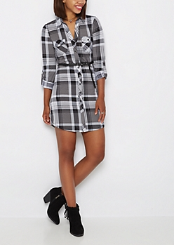 Belted Black Plaid Shirt Dress
