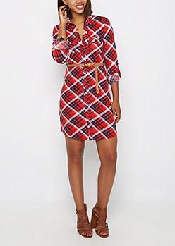 Belted Red Plaid Shirt Dress