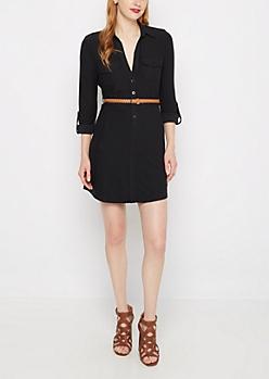 Black Soft Knit Belted Shirt Dress