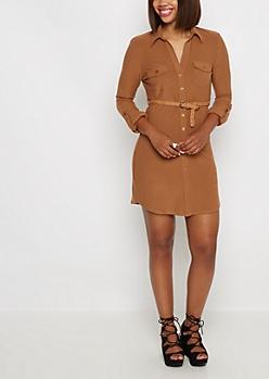 Cognac Soft Knit Belted Shirt Dress