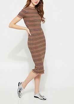 Brown Striped Ruffled Sweater Dress