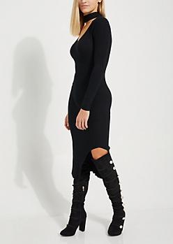 Black Cutout Slit Sweater Dress