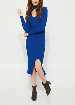 Blue Cutout Slit Sweater Dress