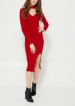 Red Cutout Slit Sweater Dress
