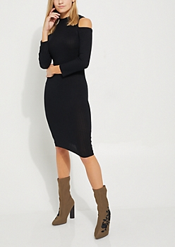 Black Rib Knit Cold Shoulder Midi Dress