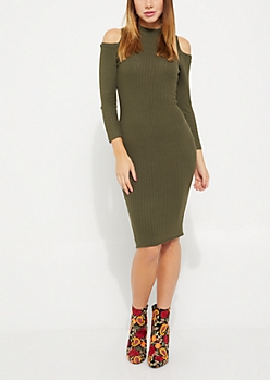 Olive Rib Knit Cold Shoulder Midi Dress