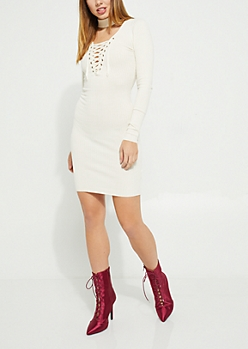 Ivory Lace Up Bodycon Midi