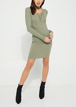 Olive Lace Up Bodycon Midi