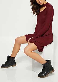 Burgundy Rib Knit Keyhole Swing Dress