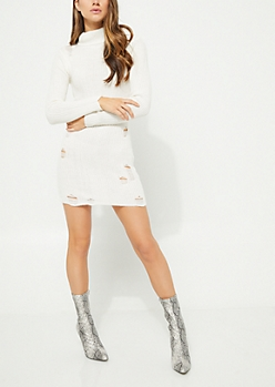 Ivory Shredded Turtleneck Sweater Dress