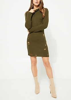 Olive Shredded Turtleneck Sweater Dress