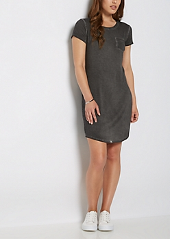 Black Vintage Washed T Shirt Dress