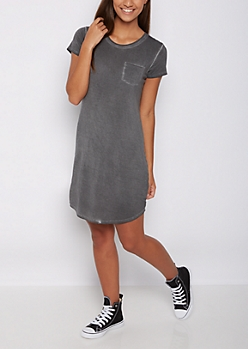 Charcoal Gray Vintage Washed T Shirt Dress