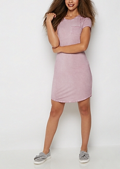 Lavender Vintage Washed T Shirt Dress