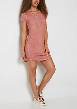 Pink Vintage Washed T Shirt Dress